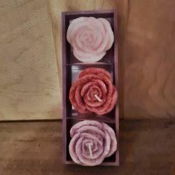 3 Rosenkerzen