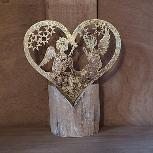 Herz-Engel Gold auf Holz