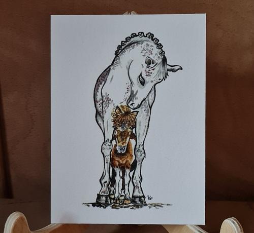Pferd mit Fohlen, Karte