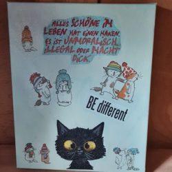 Leinwandbild-Handmade-black Cat