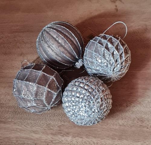 Weihnachtskugel grau-braun-silber