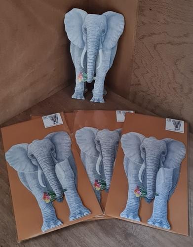 3D Karte, Elefant mit Blumenstrauß