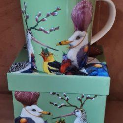 Verrückte Vögel-Porzellan-Becher