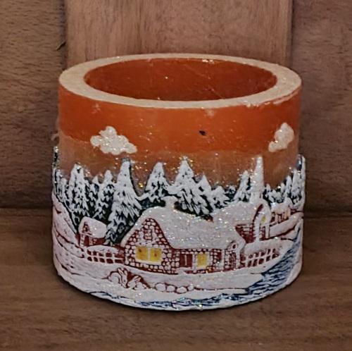Teelichtzylinder Weihnachtsdorf