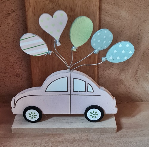 Holz-Auto, rosa, Hochzeit
