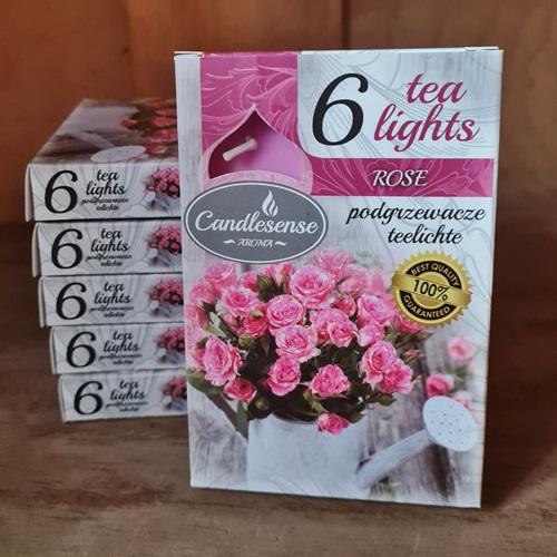 6 Teelichter-Rosenduft