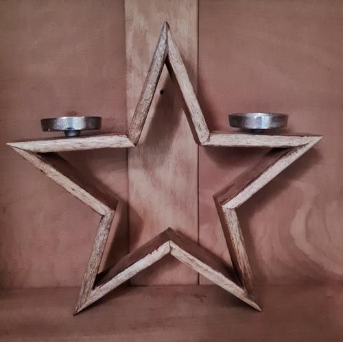 Holz-Stern Kerzenhalter