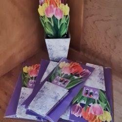 3D Karte, bunte Tulpen